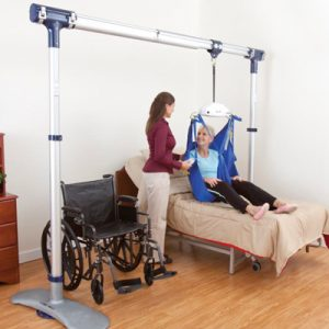 caregiver transferring patient from bed to wheelchair with portable ceiling lifts for safe patient handling