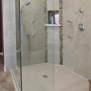 Roll-in shower with no curb and glass door