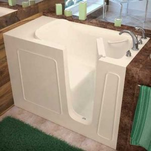 Deep walk-in tub with door open